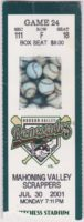 2001 Hudson Valley Renegades ticket stub vs Scrappers