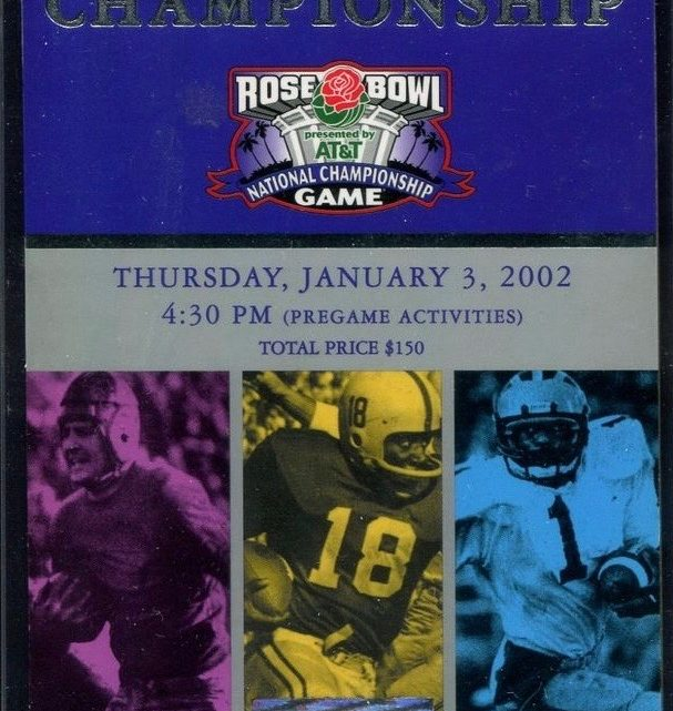 2002 BCS Championship Rose Bowl Ticket Stub Miami vs Nebraska