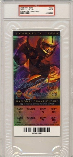 2006 BCS Rose Bowl Ticket Stub USC vs Texas