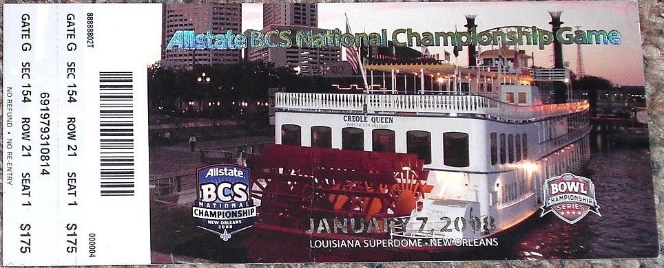 2008 BCS National Championship Ticket Stub Ohio State v LSU