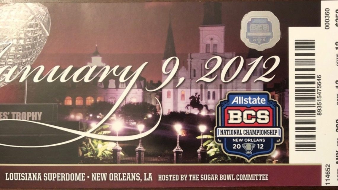 2012 BCS Championship Game Ticket Stub Alabama vs LSU
