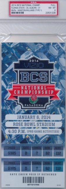 2014 BCS Championship Game Ticket Stub Florida State vs Auburn