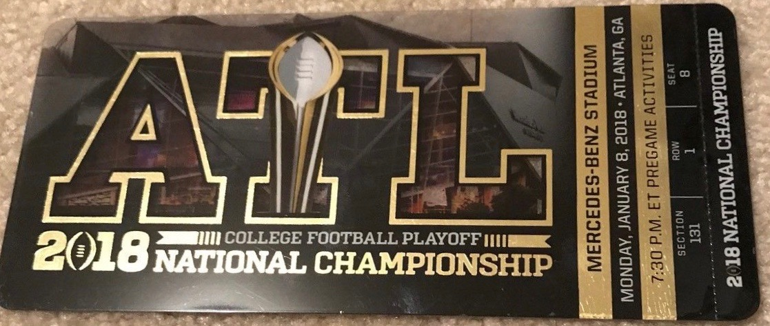 2018 National Championship Ticket Stub Alabama vs Georgia