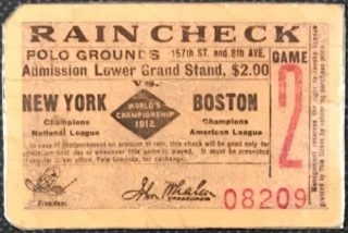 1912 World Series Game 2 ticket stub Red Sox vs Giants
