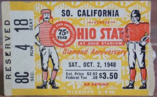 1948 NCAAF Ohio State ticket stub vs USC