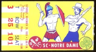 1955 NCAAF USC ticket stub vs Notre Dame Mascot Battle