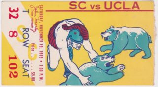 1955 NCAAF USC ticket stub vs UCLA