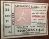 1955 PCL Sacramento Solons ticket stub vs Hollywood Stars