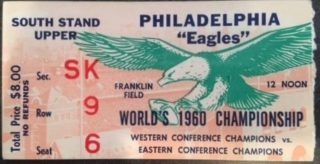 1960 NFL Championship Game Packers vs Eagles ticket stub