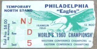 1960 NFL Championship Game ticket stub Packers at Eagles