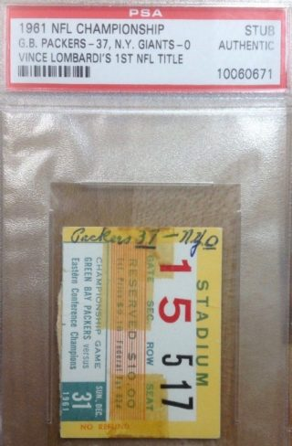 1961 NFL Championship Game ticket stub Packers vs Giants