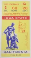 1963 NCAAF California ticket stub vs Iowa State