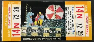 1964 NCAAF Iowa ticket stub vs Idaho