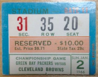 1965 NFL Championship Ticket Stub Packers vs Browns