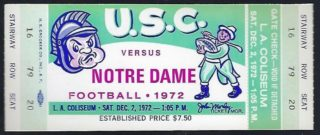 1972 NCAAF USC unused ticket vs Notre Dame