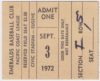 1972 PCL Eugene Emeralds ticket stub