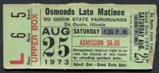 1973 Osmonds ticket stub Du Quain State Fairgrounds