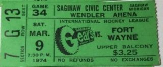 1974 IHL Saginaw Gears ticket stub vs Ft. Wayne Komets