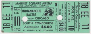 1975 WHA Indianapolis Racers ticket vs Chicago Cougars