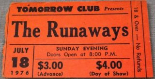 1976 Runaways ticket stub Tomorrow Club Youngstown