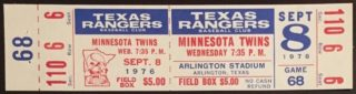 1976 Texas Rangers ticket vs Minnesota Twins