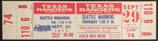 1977 Texas Rangers ticket vs Seattle Mariners