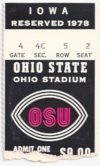 1978 NCAAF Ohio State ticket stub vs Iowa