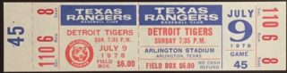 1978 Texas Rangers ticket vs Detroit Tigers