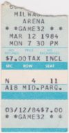 1984 IHL Milwaukee Admirals ticket stub vs Toledo Goaldiggers