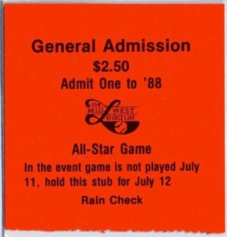 1988 Midwest League All Star Game ticket stub