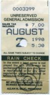 1990 Frank Thomas debut ticket stub