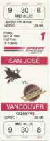 1991 Vancouver Canucks unused ticket vs San Jose Sharks