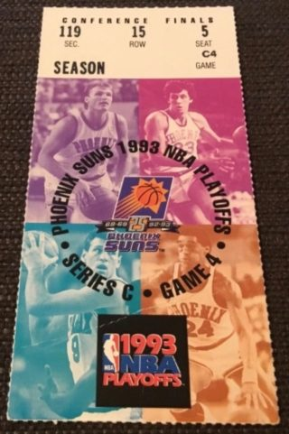 1993 NBA Playoffs Phoenix Suns ticket stub vs Seattle Supersonics Game 7