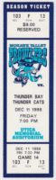 1998 UHL Mohawk Valley Prowlers ticket vs Thunder Bay Thunder Cats