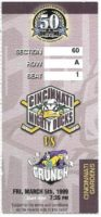 1999 Cincinnati Mighty Ducks ticket stub vs Syracuse Crunch