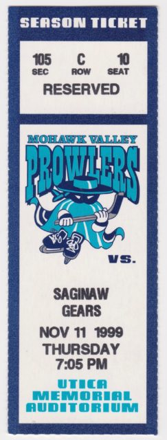 1999 UHL Mohawk Valley Prowlers ticket stub vs Saginaw