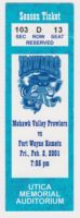 2001 UHL Mohawk Valley Prowlers ticket stub vs Ft. Wayne Komets