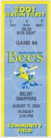 2003 Burlington Bees ticket stub vs Beloit Snappers