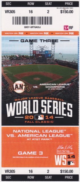 2014 World Series Game 3 ticket Royals at Giants 5.16