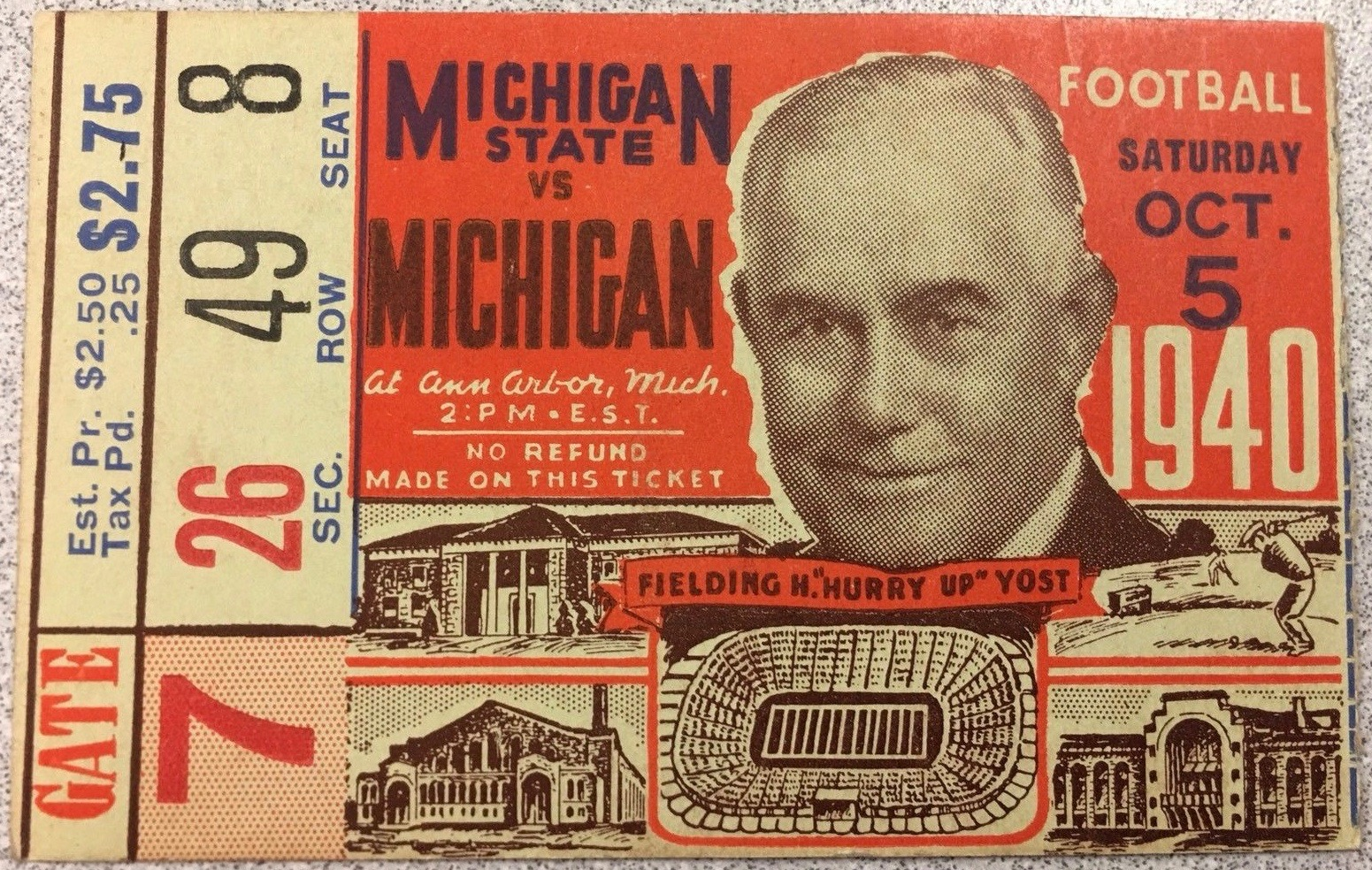 1940 NCAAF Michigan ticket stub vs Michigan State