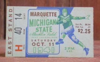 1941 NCAAF Michigan State ticket stub vs Marquette
