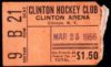 1956 EHL Playoffs Clinton Comets Ticket Stub vs New Haven Blades