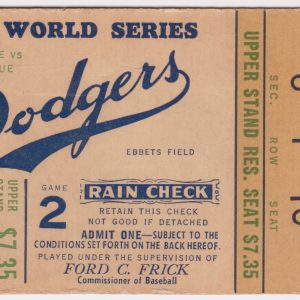 1956 World Series Game 2 ticket stub Yankees vs Dodgers 10/5/1956