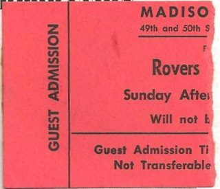 1964-65 EHL NY Rovers Ticket Stub