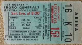 1964 EHL Greensboro Generals Ticket Stub vs Charlotte Checkers