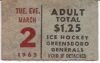 1965 EHL Greensboro Generals TicketStub vs Nashville Dixie Flyers