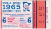 1965 World Series Game 6 ticket stub Dodgers vs Orioles