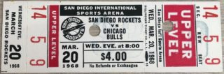 1968 NBA San Diego Rockets ticket vs Chicago Bulls