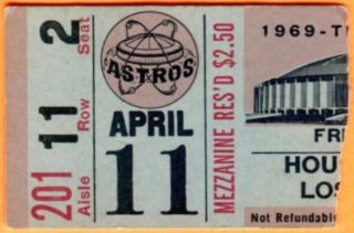 1969 Astros ticket stub vs Dodgers Bill Russell First Homerun
