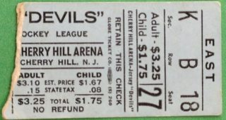 1971 EHL Jersey Devils ticket stub vs Charlotte Checkers